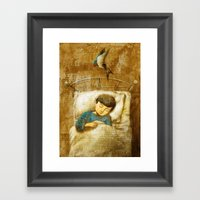 The Boy And The Swallow Framed Art Print