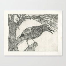 crow etching Canvas Print