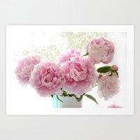 Shabby Romantic Cottage Garden Pink Peonies Closeup  Art Print