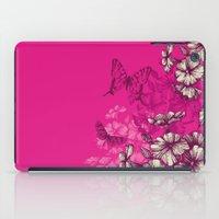 Vintage butterfly wallpaper- magenta iPad Case