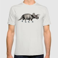 Triceratops Mens Fitted Tee Silver SMALL