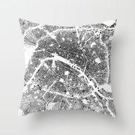Throw Pillow featuring Paris Schwarzplan by City Map Art