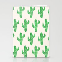 Linocut Cacti Green Stationery Cards