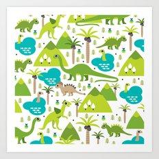 Dinosaur illustration pattern print Art Print