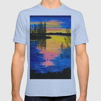 Dawn at the Lake Mens Fitted Tee Athletic Blue SMALL