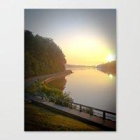 Sunrise Over Lake and Path Canvas Print