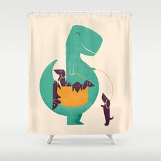 T-Rex and his Basketful of Wiener Dogs Shower Curtain