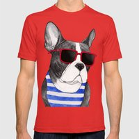 Frenchie Summer Style Mens Fitted Tee Red SMALL