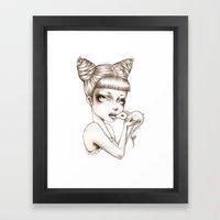 Girl & Mouse Framed Art Print