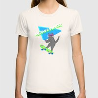 Meowabunga  Womens Fitted Tee Natural SMALL
