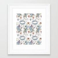 Narwhal pattern Framed Art Print