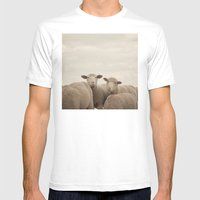Smiling Sheep  Mens Fitted Tee White SMALL