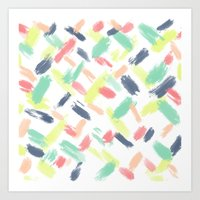 Hand painted summer pastel brushstrokes pattern Art Print
