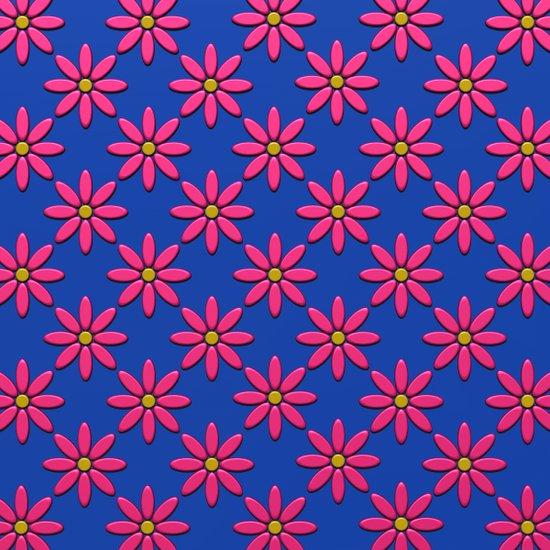 Pink Flowers on Blue Field Art Print