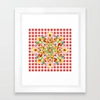 Red Gingham Pastel Mandala Framed Art Print