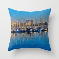 Boats in the Harbor: Barcelona, Spain Throw Pillow