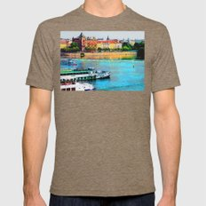 Prague boats watercolor Mens Fitted Tee Tri-Coffee SMALL