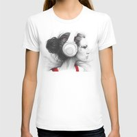 I Love Music | Girl in Headphones Womens Fitted Tee White SMALL