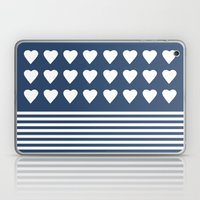 Heart Stripes Navy Laptop & iPad Skin