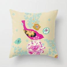 Birds and Blooms 1 Throw Pillow