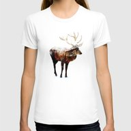 Arctic Deer Womens Fitted Tee White LARGE