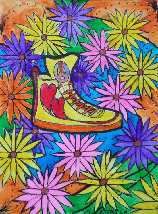 SNEAKER OF PEACE AND LOVE Art Print
