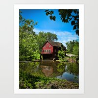 Old Red Grist Mill Art Print