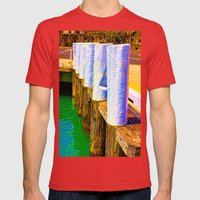 Abstract Harbor Bollards Mens Fitted Tee Red SMALL