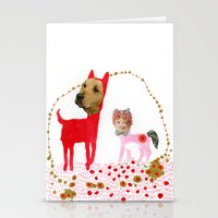Cat and Dog  Stationery Cards