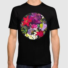 Black Parrot Tulips Black Mens Fitted Tee SMALL