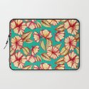 Retro style Rust & Teal Hand drawn Floral Pattern Laptop Sleeve