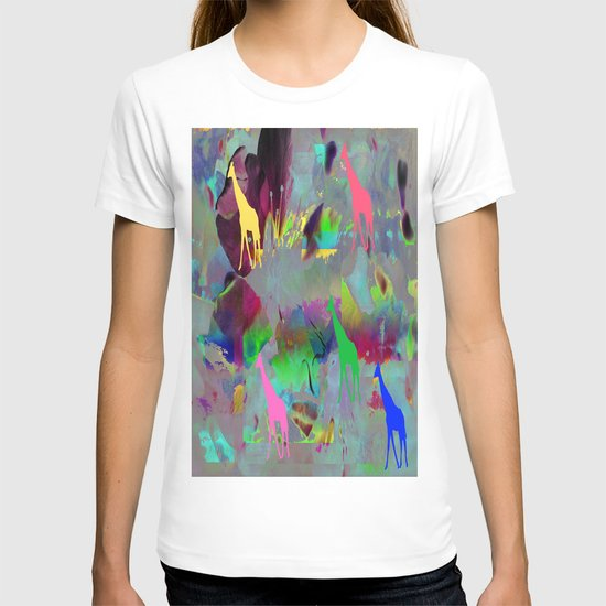 Colours Giraffes. On Front Page. T-shirt
