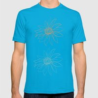 Pretty Daisies Mens Fitted Tee Teal SMALL