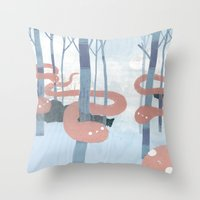 Snakes In The Forest Throw Pillow