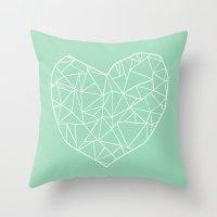 Abstract Heart Mint Throw Pillow
