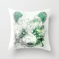 Green Panda Bear Throw Pillow