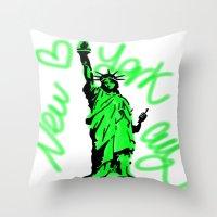 New York City Neon Green Throw Pillow