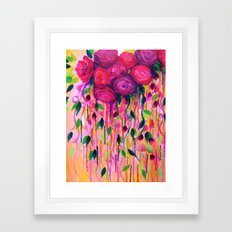 ROSES ARE RAD 2- Bold Pink Red Roses Floral Bouquet Vines, Flower Abstract Acrylic Painting Fine Art Framed Art Print