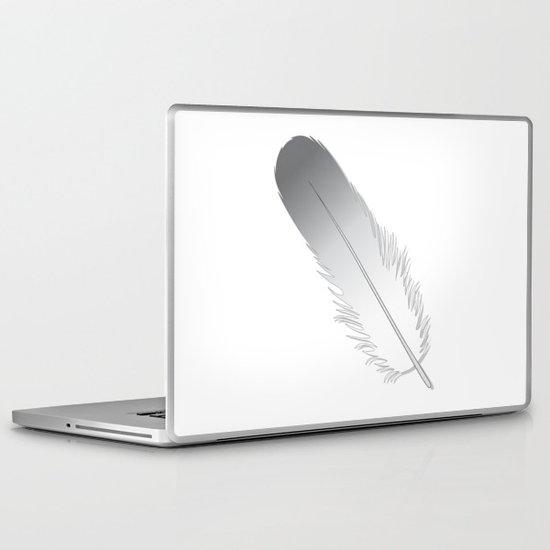 White Fuzz Feather Laptop & iPad Skin