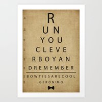 Run You Clever Boy - Doctor Who Vintage Eye Exam Chart Art Print