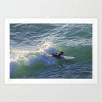 Surfer Chapple Porth Cornwall Art Print