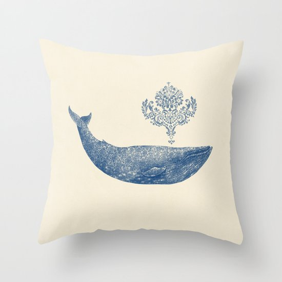 The Damask Whale  Throw Pillow