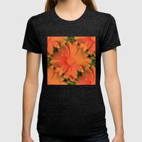 Orange Daisy Womens Fitted Tee Tri-Black SMALL