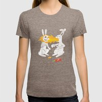 Fire Bunny Womens Fitted Tee Tri-Coffee SMALL