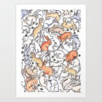 Colour Bunny Pattern Art Print
