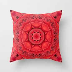 Beautiful Red Rose Mandala Throw Pillow