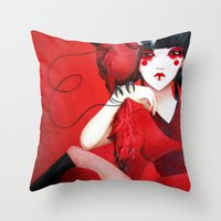 Kimiko The Geisha In Red Throw Pillow