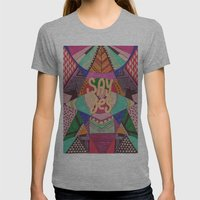 SAY YES Abstract 90's Ra… Womens Fitted Tee Athletic Grey SMALL