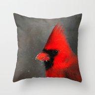 MALE CARDINAL - WINTER W… Throw Pillow