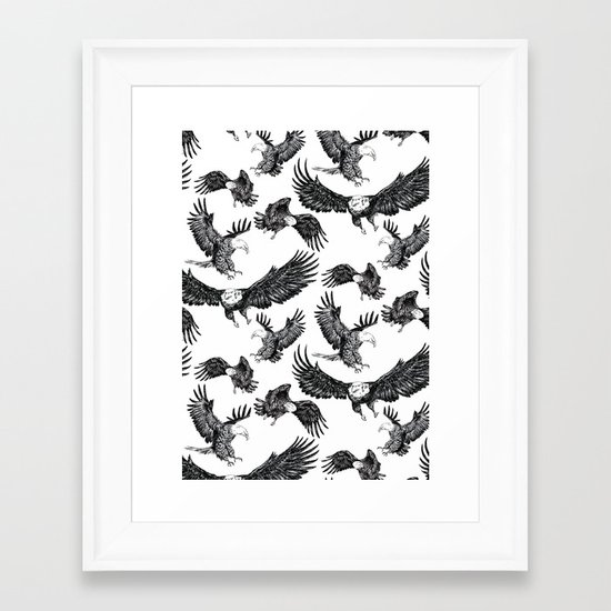 Eagles Pattern Framed Art Print